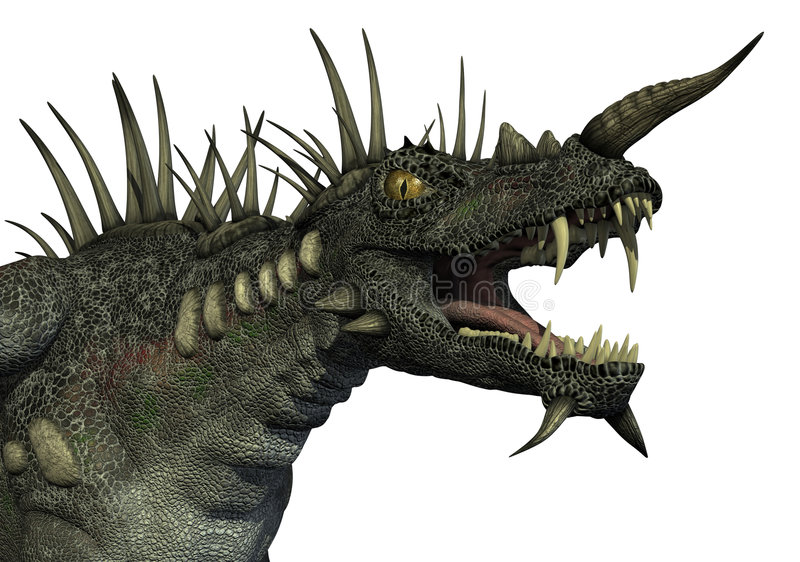 Spiky Dragon Portrait vector illustration