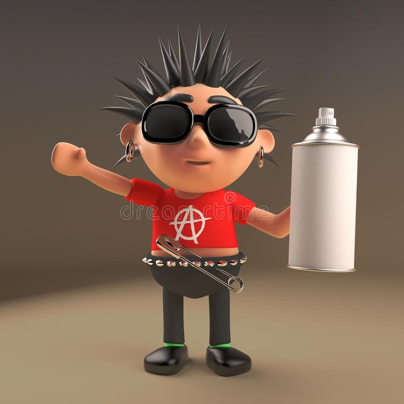 Spiky haired cartoon 3d punk rocker teenager character holding an aerosol spray can, 3d illustration stock illustration