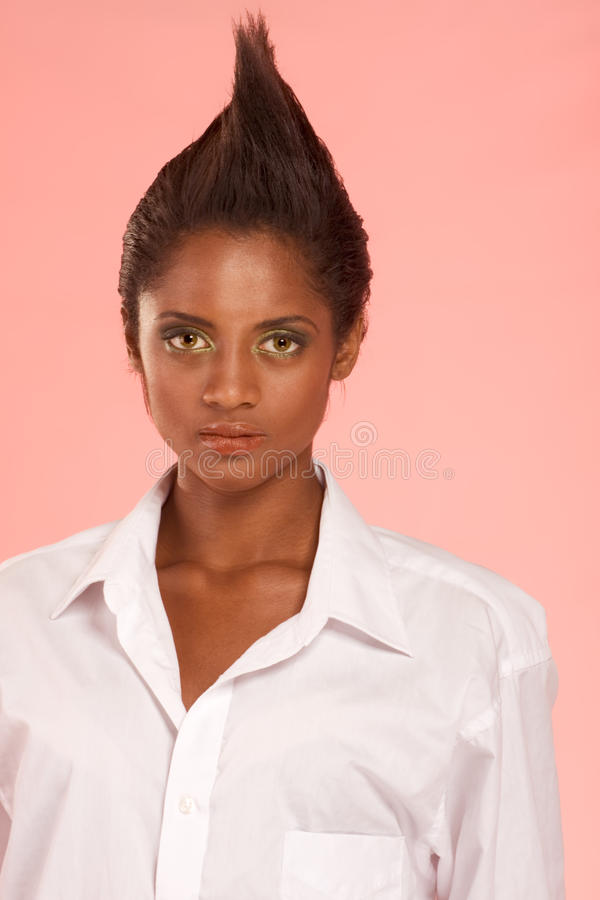 Spiky hairstlye of Afro-American female royalty free stock photography
