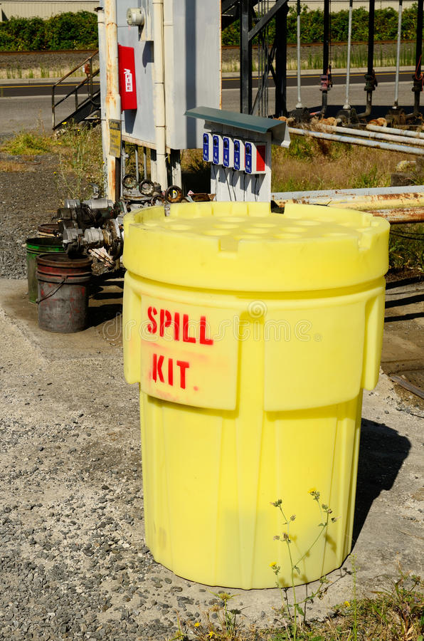 Spill Kit. And containment barrel at a petroleum truck farm stock photo