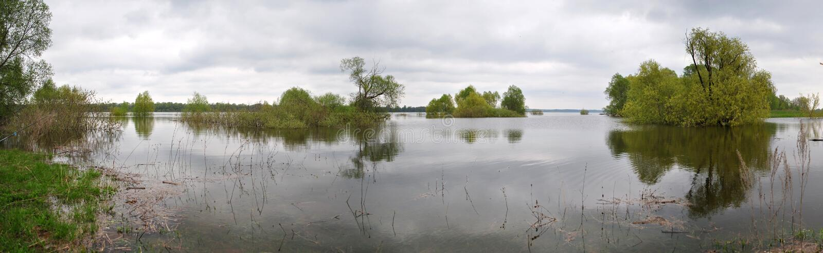 A spill on the river. Right Bank of the Oka river, spring, may spill royalty free stock photography