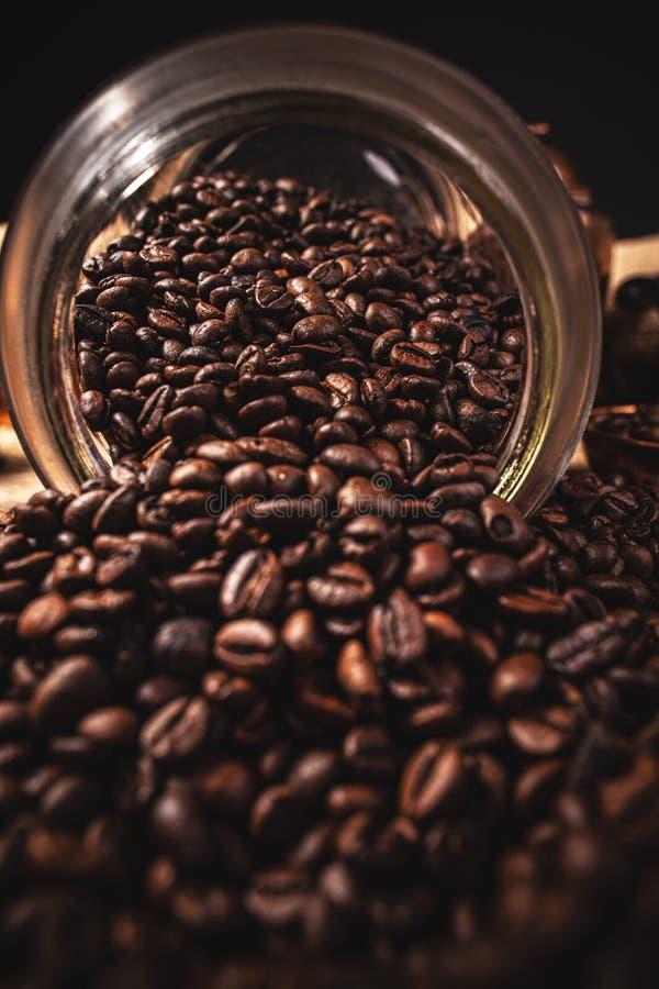 Spillade kaffebönor arkivfoton