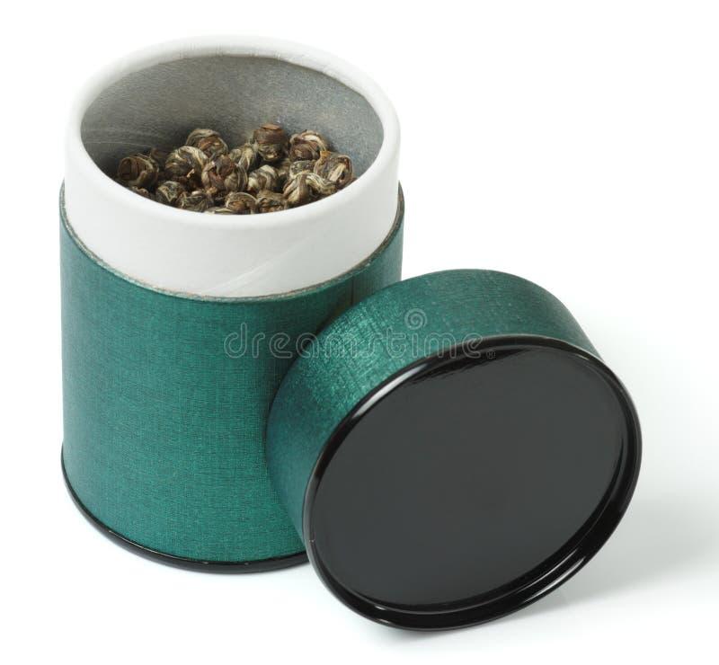 spilld tea för elit kan grön oolong royaltyfri fotografi