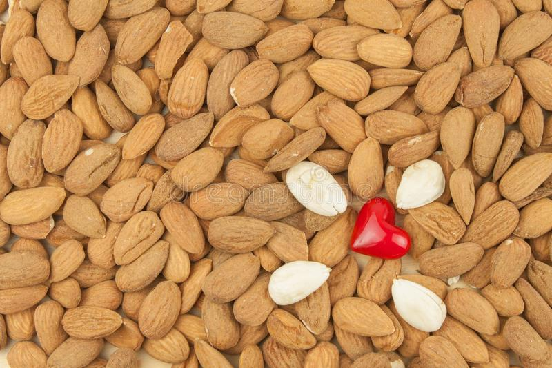 Spilled almonds. We like almonds. Healthy food. Spilled almonds. We like almonds. Healthy food royalty free stock photos
