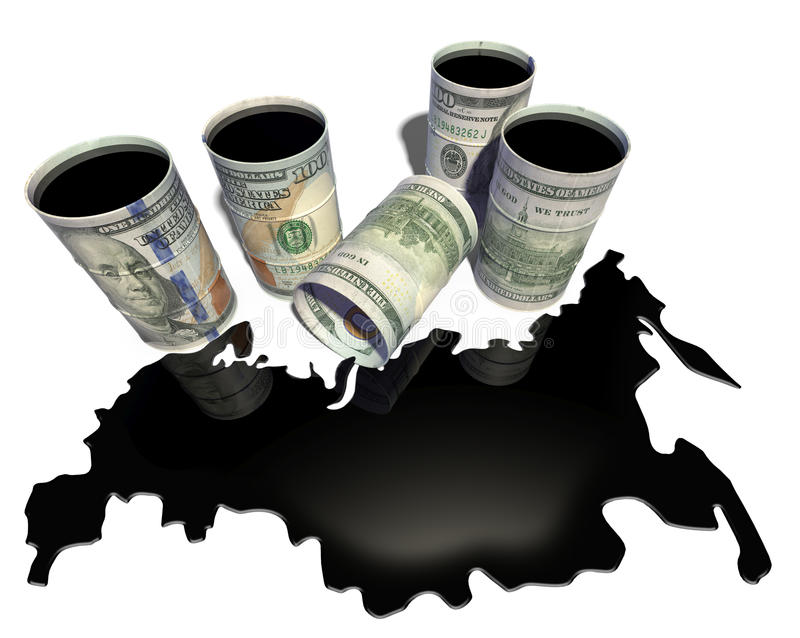 Spilled from barrels oil in the form of a map of Russia stock illustration