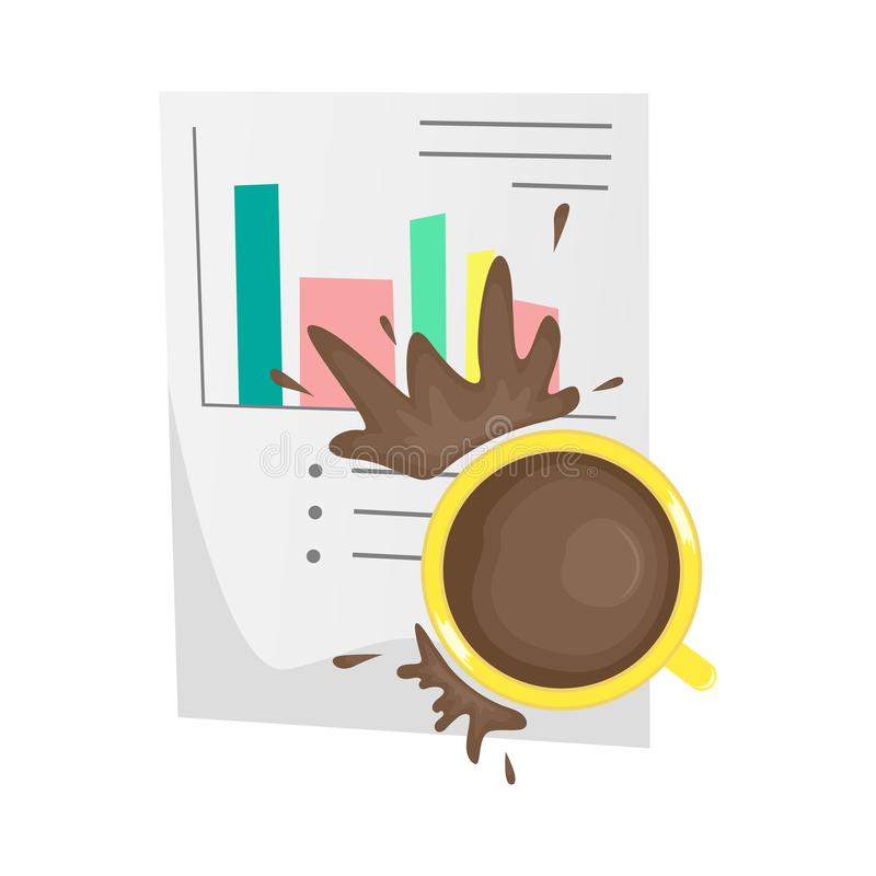 Spilled coffee on an important paper document. unpleasant incident stock illustration