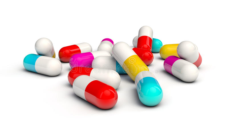 Download Spilled colorful capsules stock illustration. Image of vitamin - 21074371