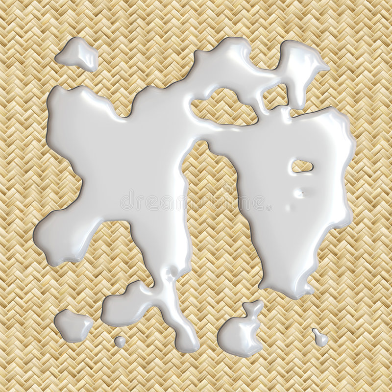 Spilled Milk !. 3d image of milk spilled on placemat vector illustration