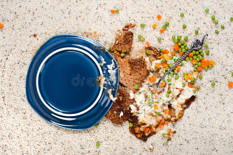 Spilled plate of food on carpet stock photography