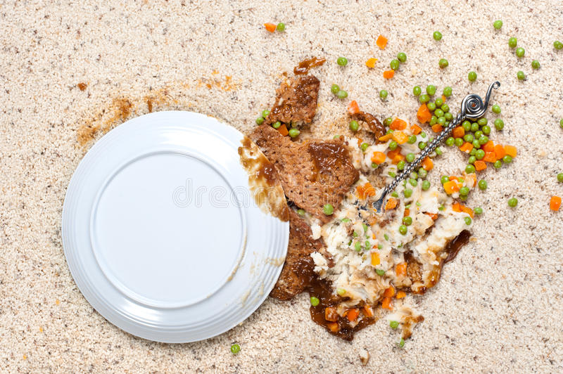 Spilled plate of food on carpet. A plate of food including meatloaf, mashed potatoes peas, carrots and gravy spilled on new carpet stock photos