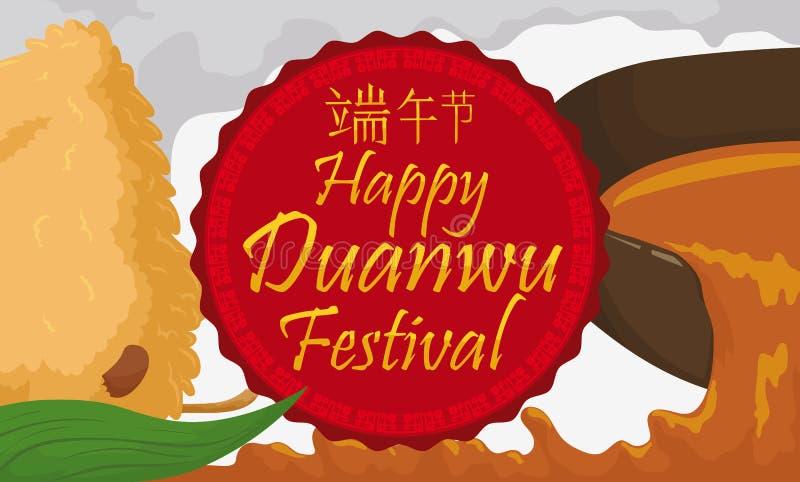 Spilled Realgar Wine and Zongzi Dumpling for Duanwu Festival, Vector Illustration. Banner with boiling zongzi dumpling and a bowl spilling realgar wine in Duanwu royalty free illustration