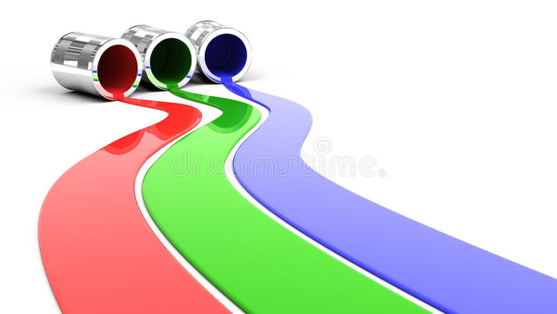 Spilled Red Green and Blue paint. 3d render vector illustration
