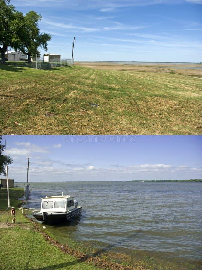 Spillway de Morganza, antes e depois imagem de stock royalty free