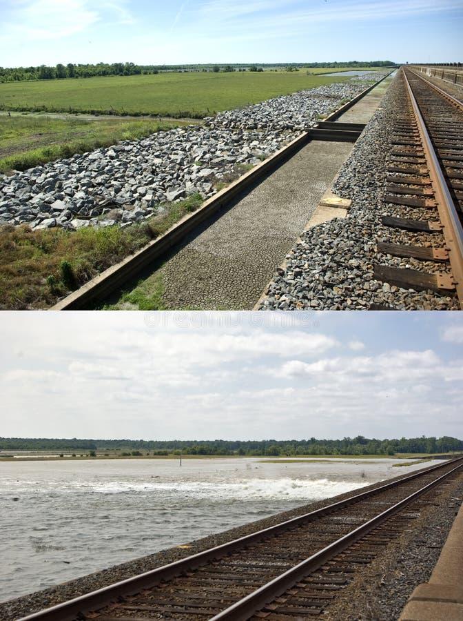 Spillway de Morganza, antes e depois fotografia de stock royalty free