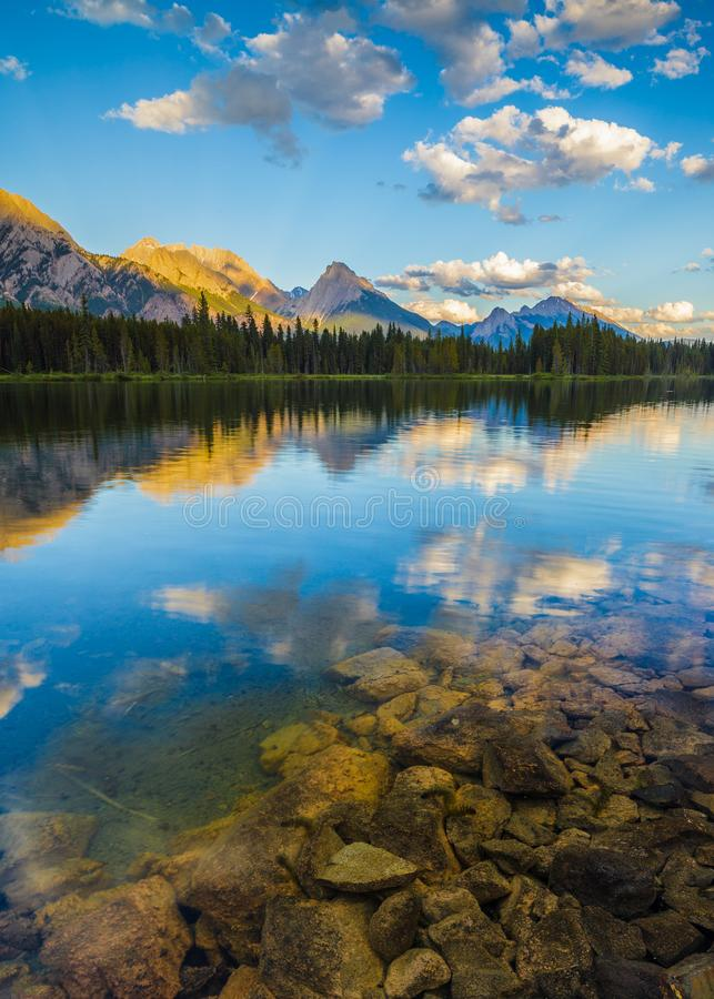 Spillway Lake and the Opal Range, Peter Lougheed Provincial Park royalty free stock photo