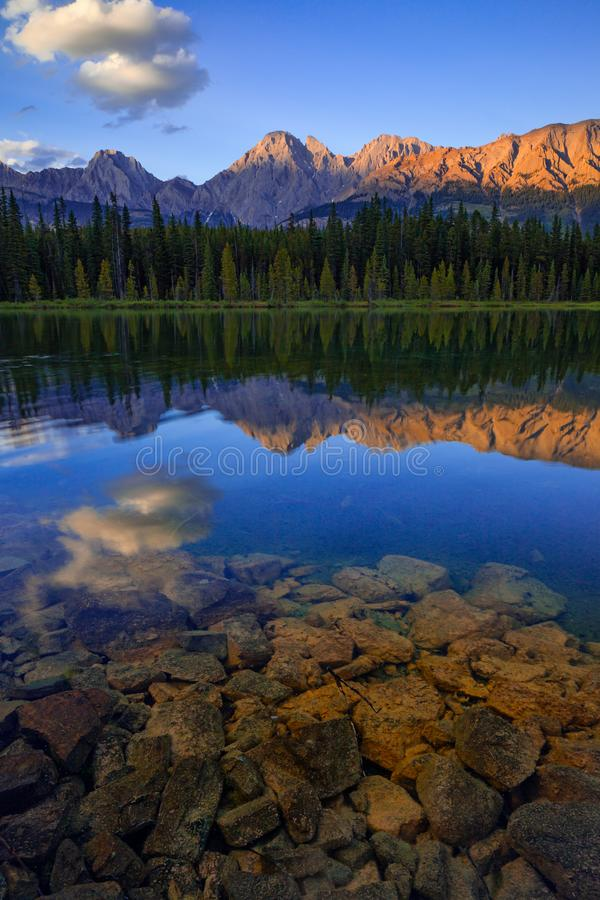 Spillway Lake and the Opal Range, Peter Lougheed Provincial Park royalty free stock image