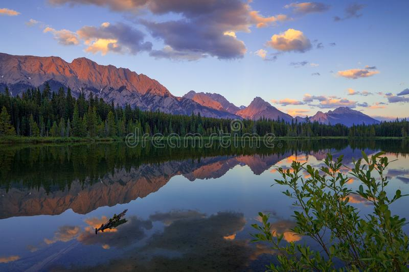 Spillway Lake and the Opal Range, Peter Lougheed Provincial Park stock images