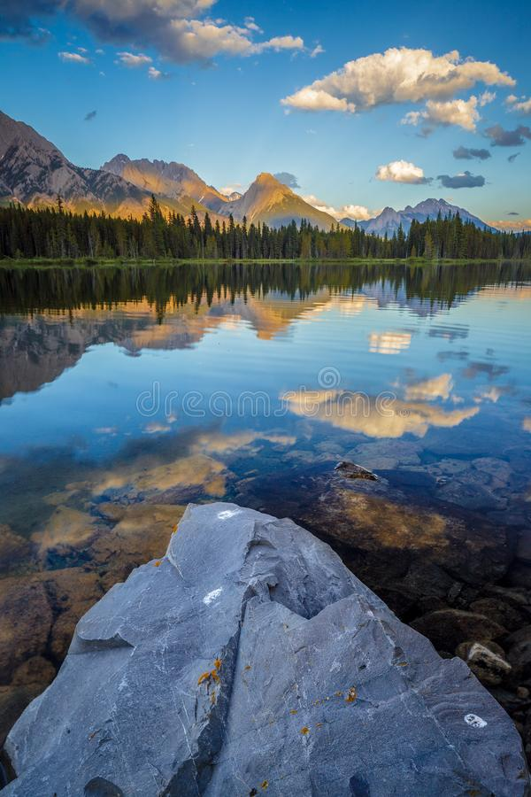 Spillway Lake and the Opal Range, Peter Lougheed Provincial Park royalty free stock images