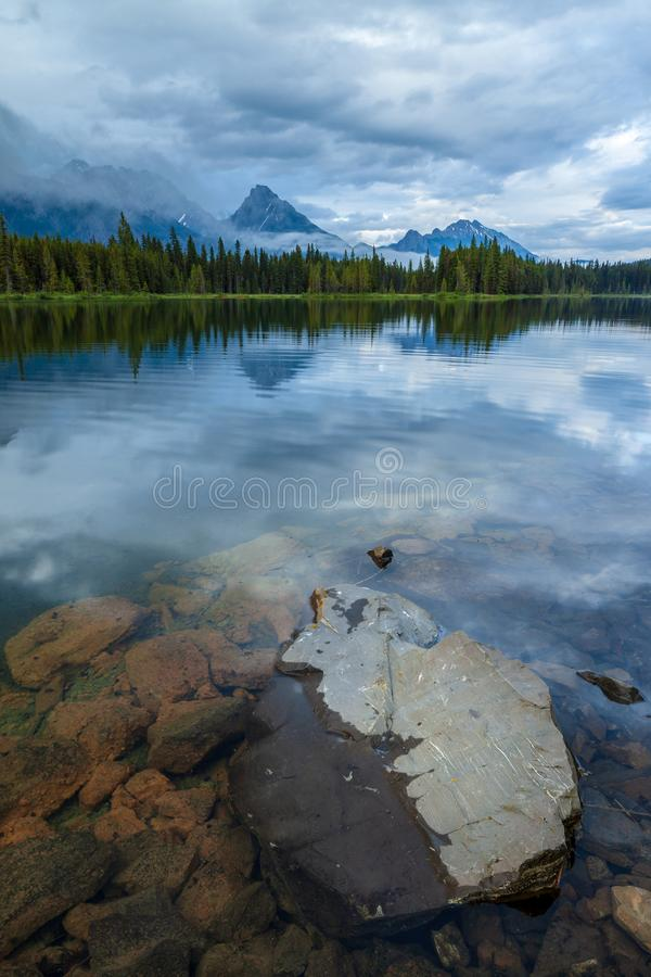 Spillway Lake in Peter Lougheed Provincial Park, Alberta stock photo
