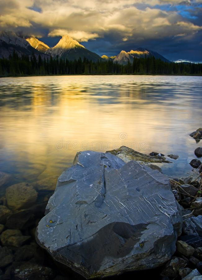 Spillway Lake in Peter Lougheed Provincial Park stock photos