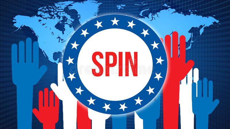 Spin election on a World background, 3D rendering. World country map as political background concept. Voting, Freedom Democracy,. Spin concept. spin and royalty free illustration