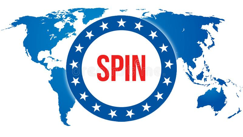 Spin election on a World background, 3D rendering. World country map as political background concept. Voting, Freedom Democracy,. Spin concept. spin and stock illustration