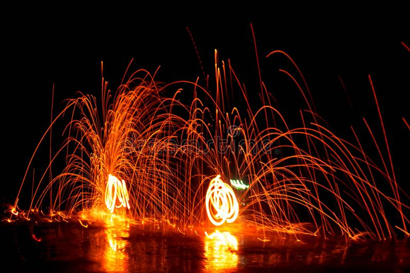 Spin the fire. royalty free stock photography