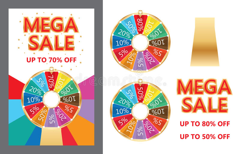 Spin lucky wheel Mega Sale set. This illustration is drawing spin lucky wheel with Mega Sale design in set and elements, blank circle is your sample icon and royalty free illustration