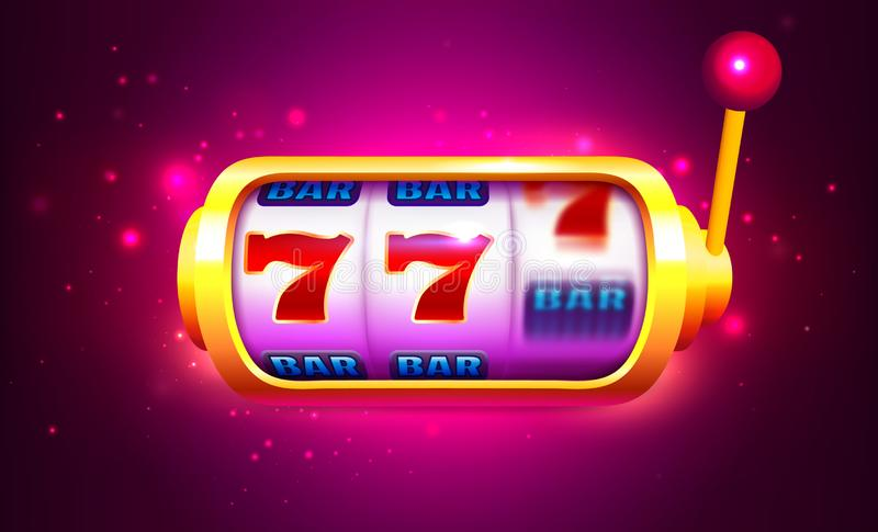 Spin and Win Slot Machine with Icons. Online Casino Banner. One Arm Bandit Vector Illustration vector illustration