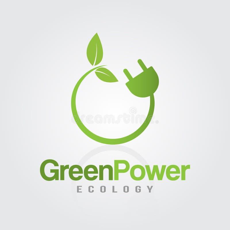 Spina di corrente verde di energia illustrazione vettoriale