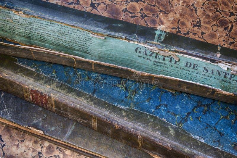 Spina dorsale antica del libro rotta con la scoperta illustrazione di stock