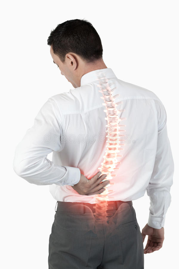 Spina dorsale evidenziata dell'uomo con dolore alla schiena immagine stock