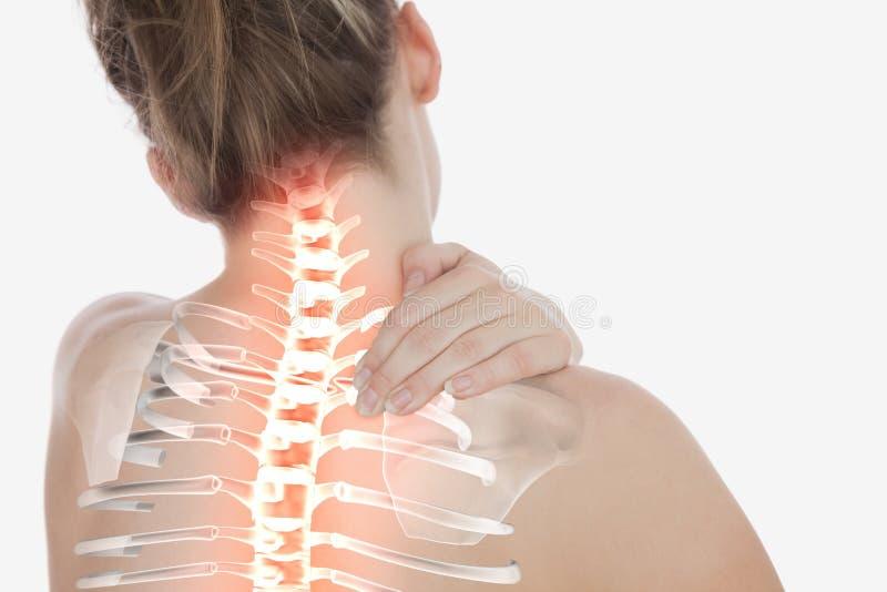 Spina dorsale evidenziata della donna con dolore al collo fotografie stock libere da diritti