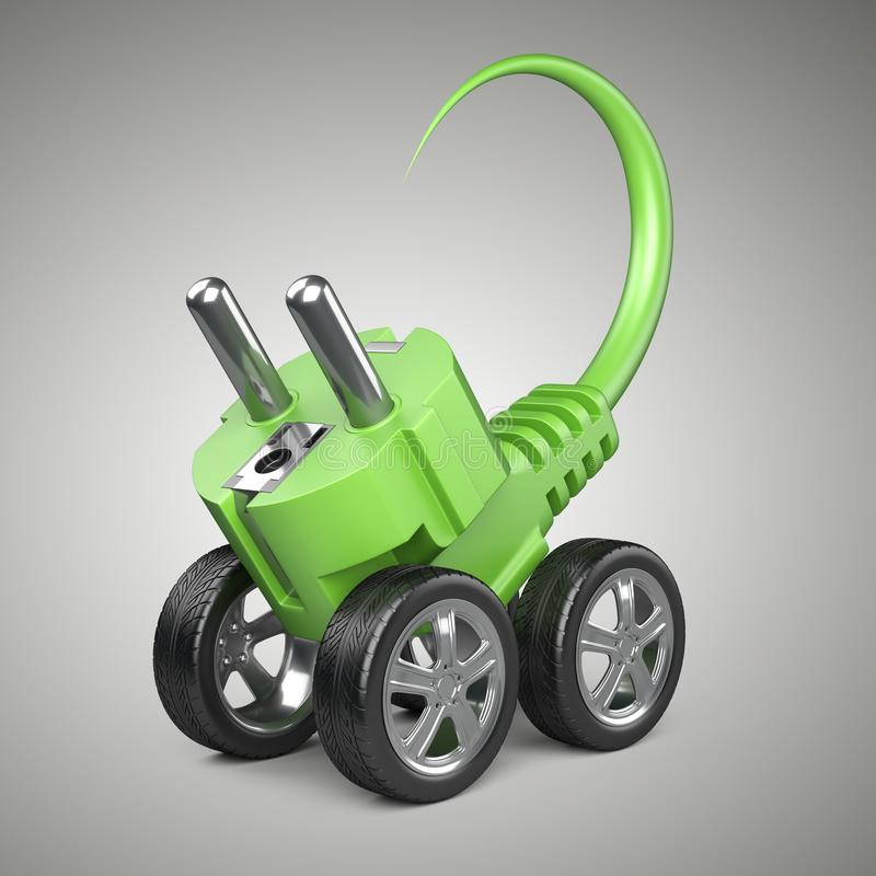 Spina elettrica sulle ruote di automobile Concetto di potenza verde Energia per la m. illustrazione vettoriale