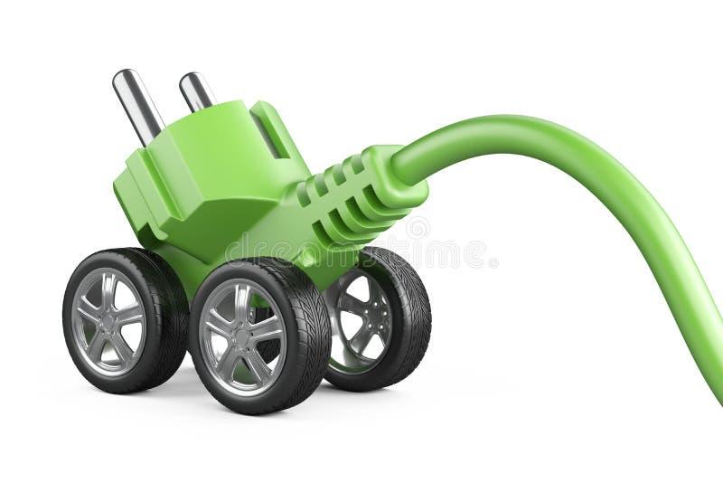 Spina elettrica sulle ruote di automobile Concetto di potenza verde Energia per la m. royalty illustrazione gratis