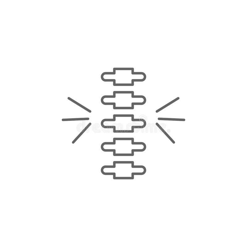 Spina, icona del dolore Icona elemento della medicina Icona linea sottile illustrazione di stock