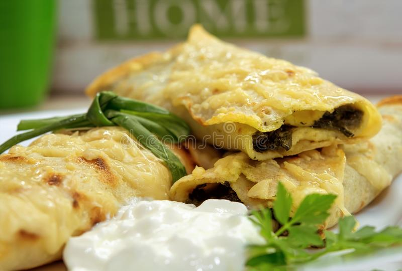 Spinach and Cheese Pancakes royalty free stock photos