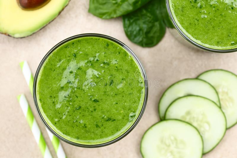 Spinach Cucumber and Avocado Green Smoothie royalty free stock image