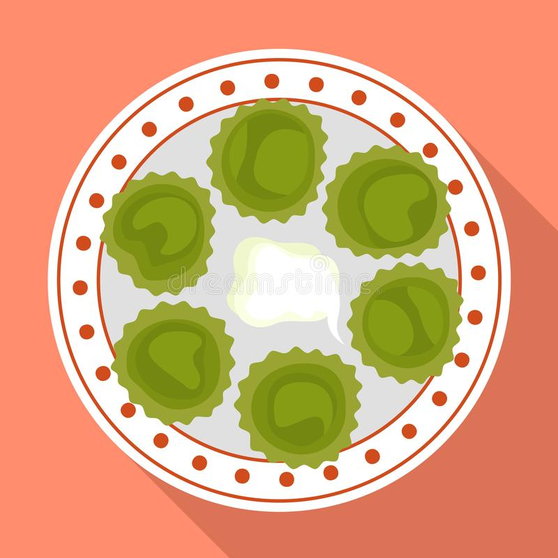 Spinach cupcake icon, flat style royalty free illustration