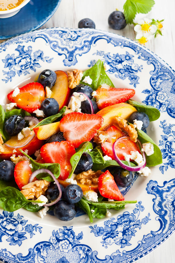 Spinach and Fruit Salad stock photography