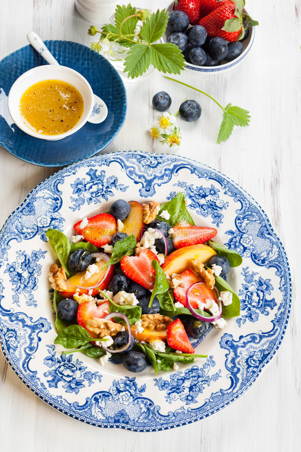 Spinach and Fruit Salad royalty free stock images