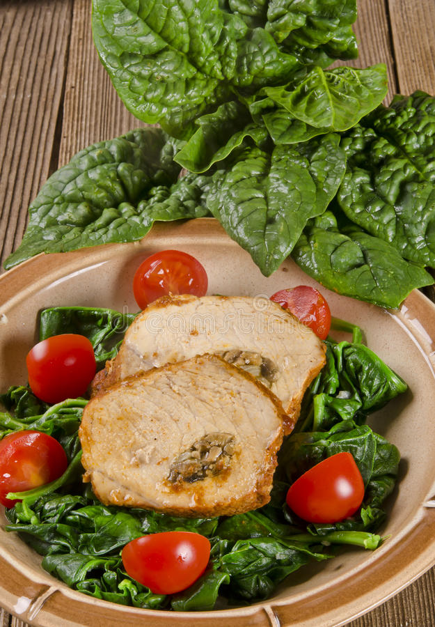 Spinach with meat beef olive royalty free stock photo