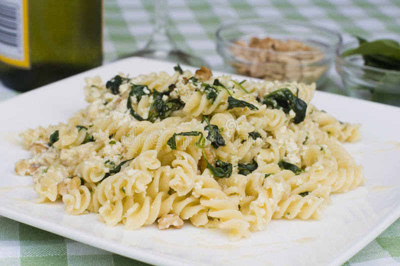 Spinach pasta royalty free stock photos
