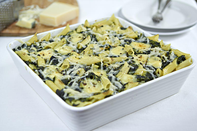 Spinach pasta bake royalty free stock photo