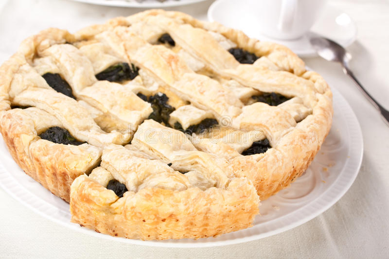 Download Spinach Pie Piece On White Plate Stock Photography - Image: 10776042