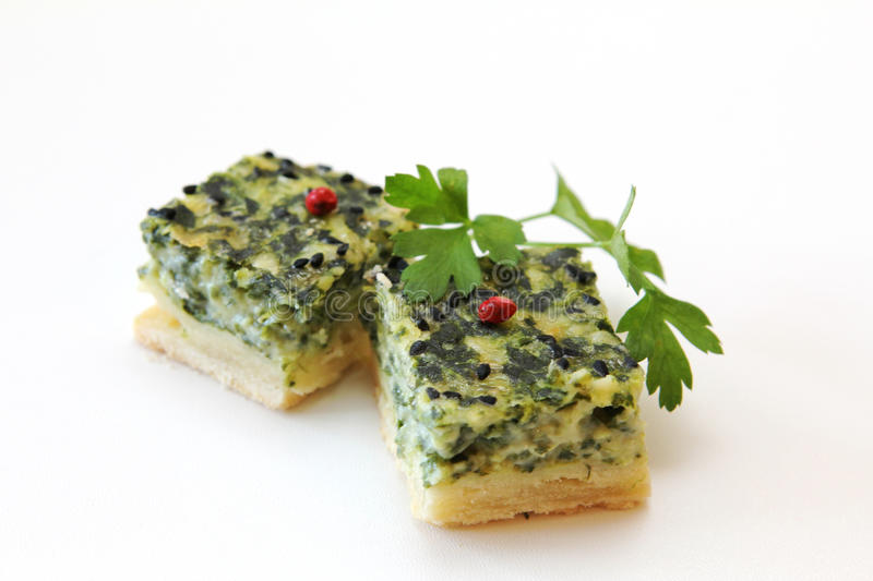 Spinach Quiche Fingerfood stock images