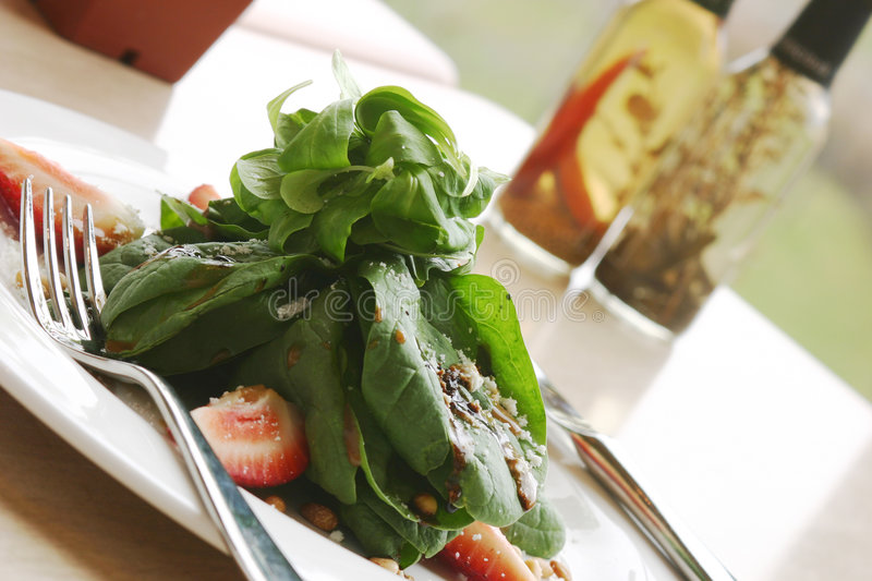 Download Spinach Salad stock photo. Image of meal, fork, restaurant - 159052