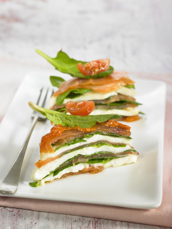 Spinach,salmon,tomato and mozzarella mille-feuille. Spinach,smoked salmon,tomato and mozzarella mille-feuille,Food, gastronomy,culinary,cookery royalty free stock image