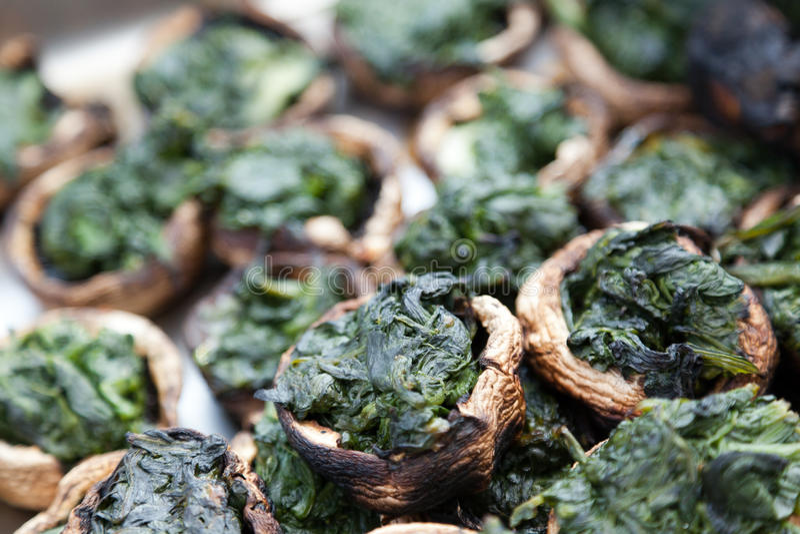 Spinach Stuffed Mushrooms stock photo
