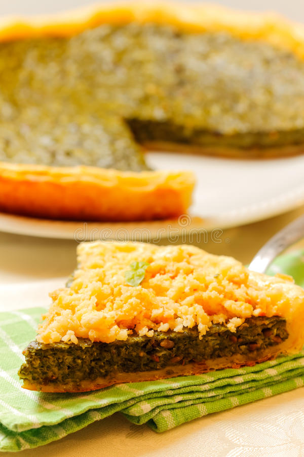 Download Spinach tart stock image. Image of crumble, meal, table - 28589087